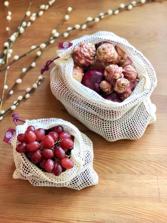 2er Set (L+M) berry, Einkaufsnetze aus Bio-Baumwolle 00010