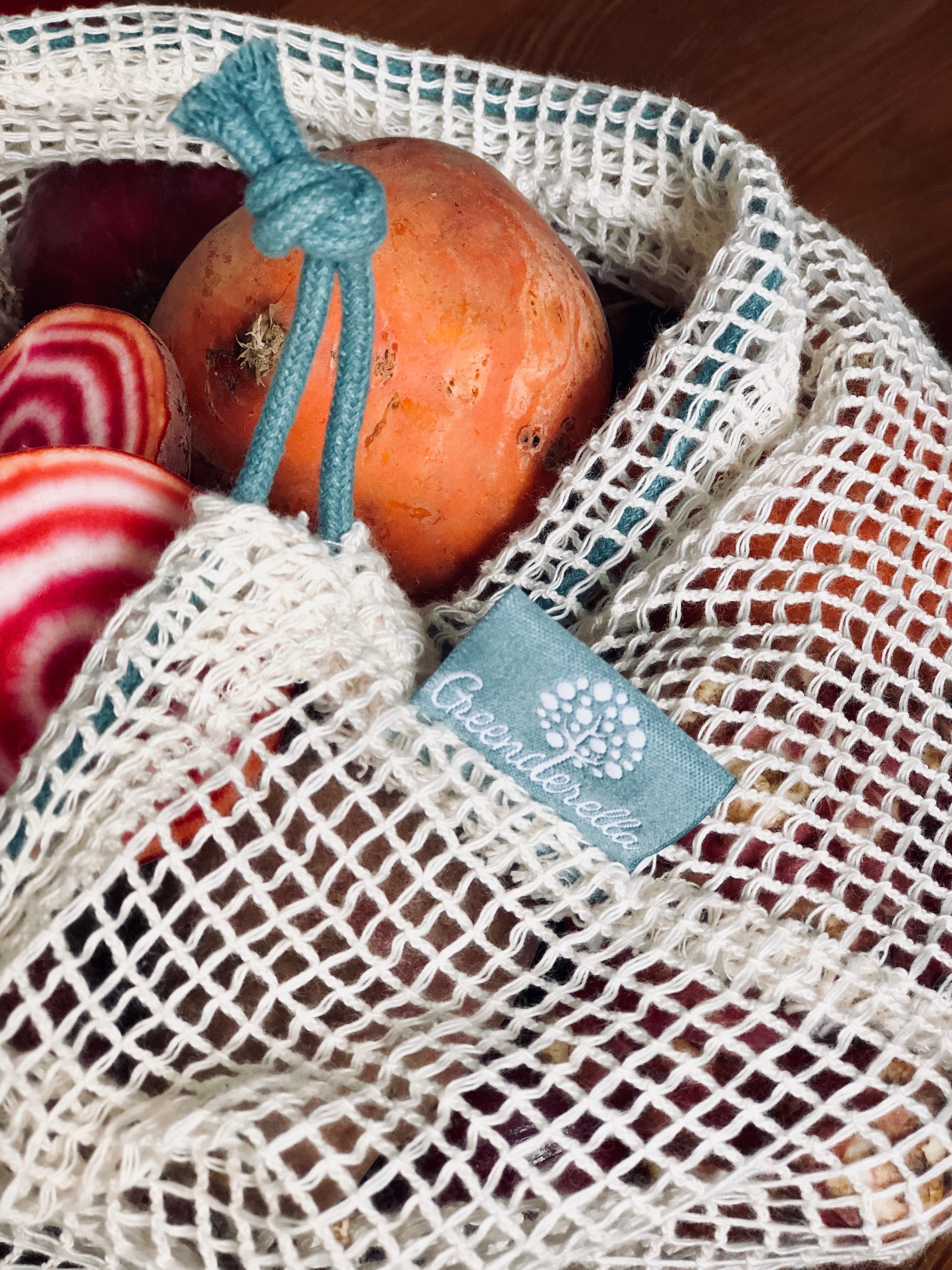 2er Set (L+M) blau-grau, Einkaufsnetze aus Bio-Baumwolle