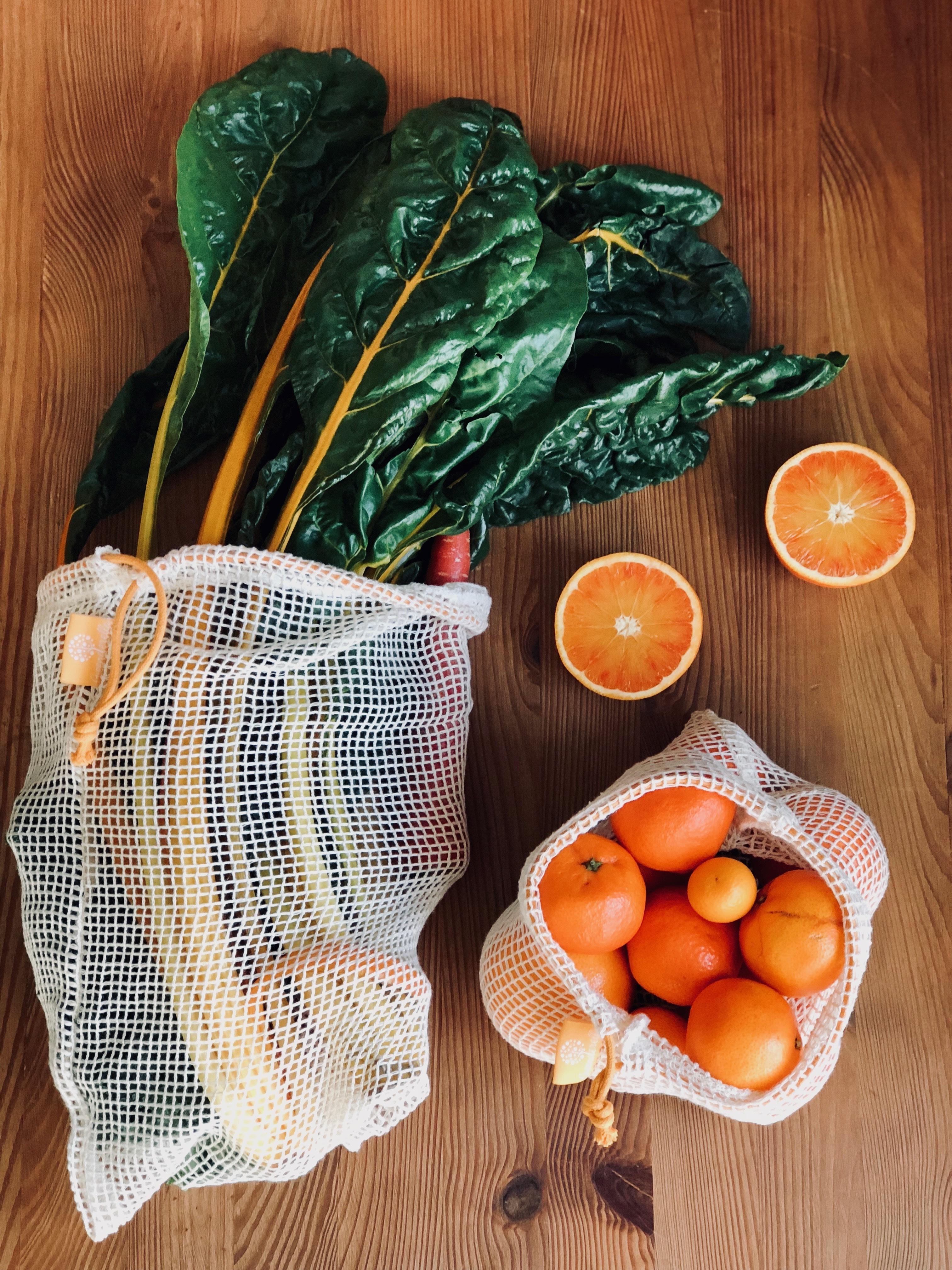 2er Set (L+M) gelb, Einkaufsnetze aus Bio-Baumwolle