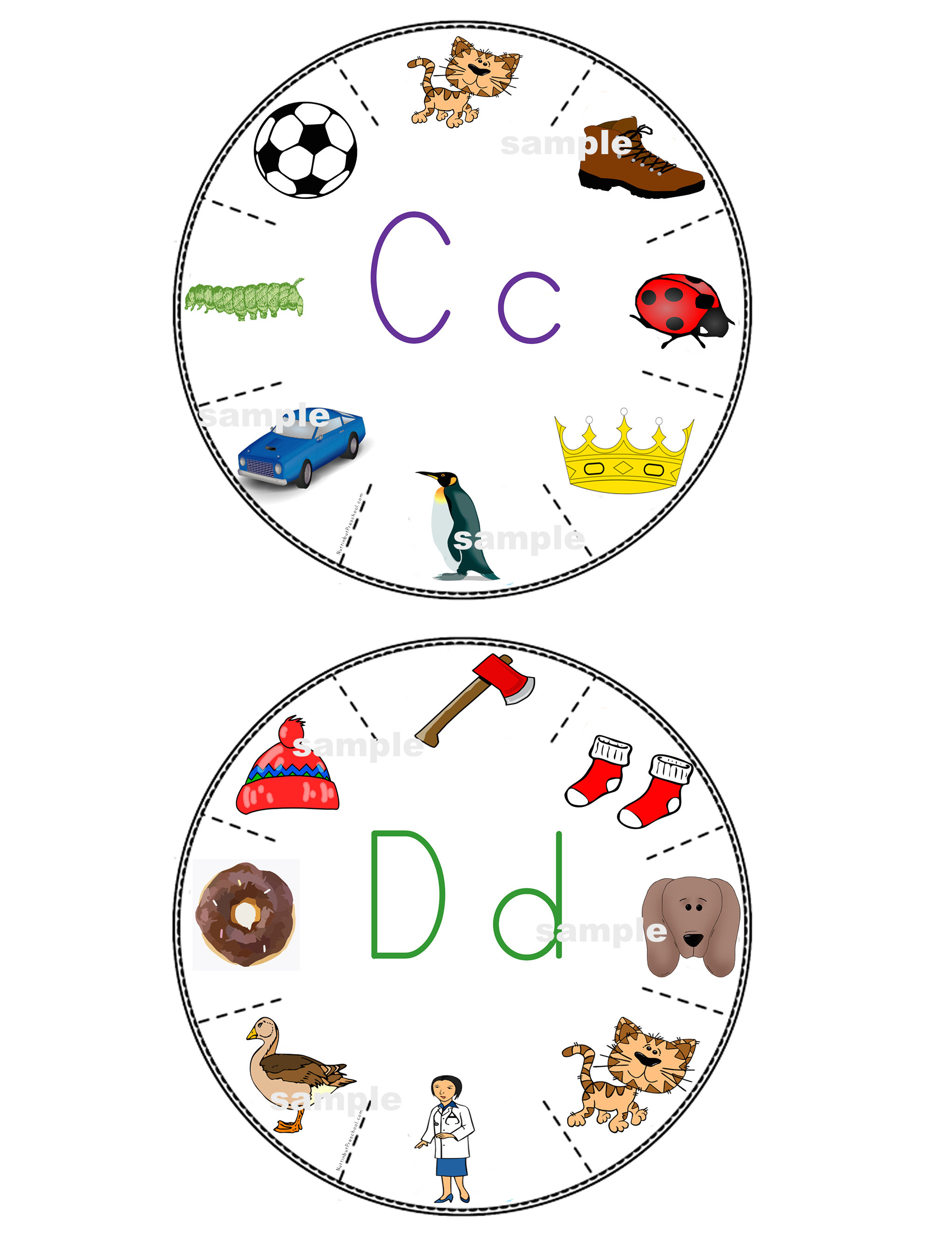 Alphabet Letter Wheels