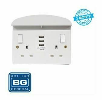 British General 3USB 3.1A 2-Gang Switched 13A Socket with Shelf-White 922U33/S