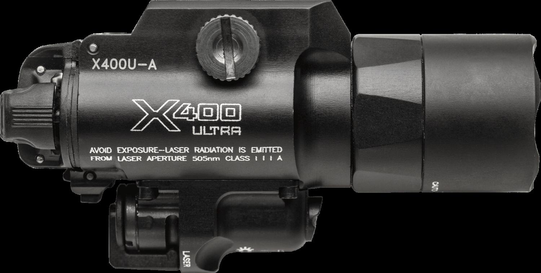Surefire X400® Ultra — Green Laser LED Handgun or Long Gun WeaponLight with Laser X400U-A-GN (PRE ORDER)