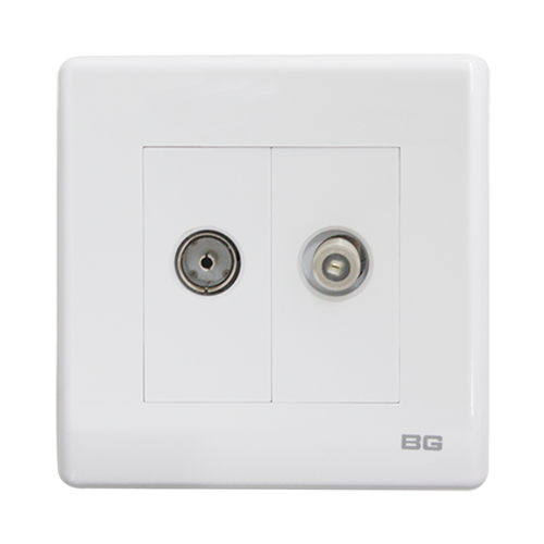 British General 2-Gang Coaxial and Satelite Socket PCWH65-01