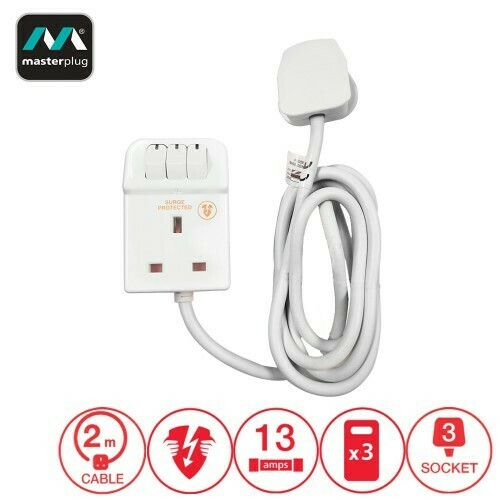 Masterplug Surge Protector 3 Gang 13Amp Switched Extension Lead 2 Meter (SWSRG32C-MPA)