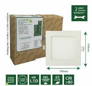 Luceco 9W LED  Eco Square Edgelit Luxpanel ELPS15W58S30-1A