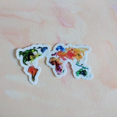 Watercolor World Map - Durable Vinyl Sticker of Map of the World for Travelers - Bujo - Planner Sticker