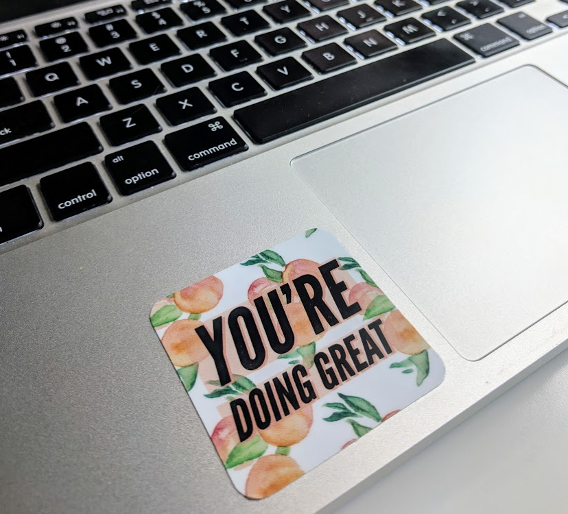 You're Doing Great - Peaches Watercolor - Durable Vinyl Sticker