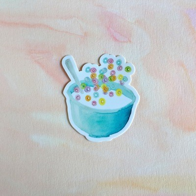 Bowl of Cheery Cereal - Durable Vinyl Sticker - Watercolor Illustration