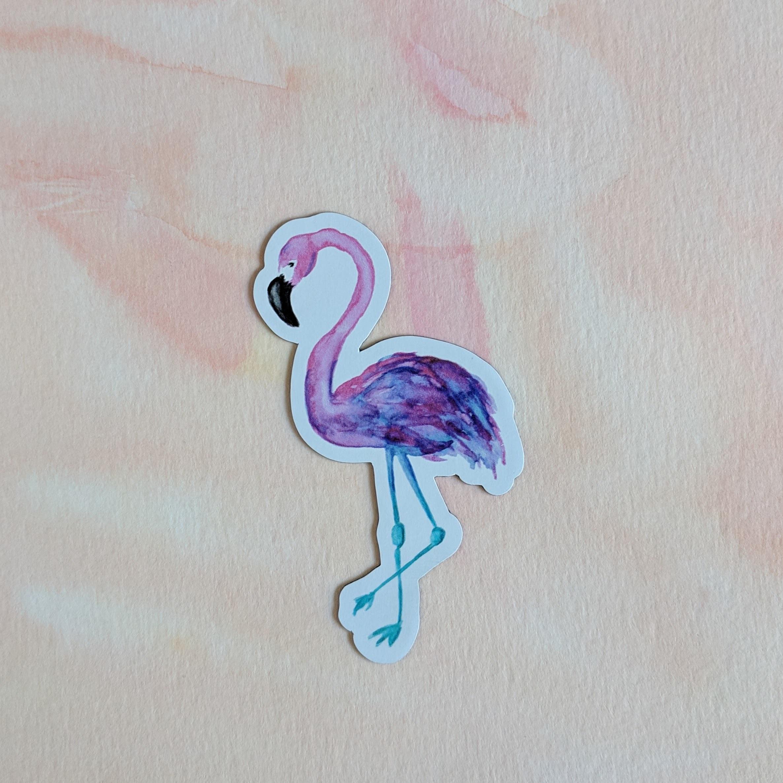 Flamingo - Durable Vinyl Magnet - Watercolor Illustration 00015