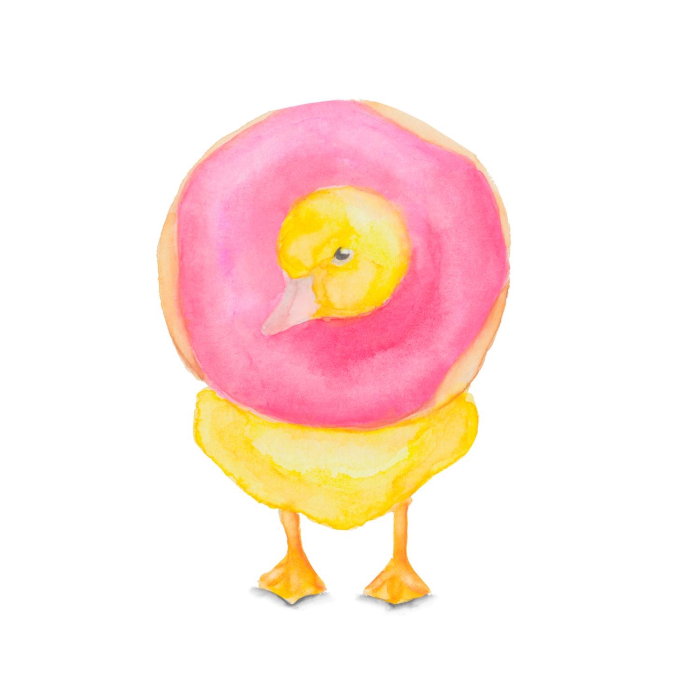Watercolor Duck with Donut, Bird Lover Watercolor Painting, Watercolor Bird Decor, Nursery Decor, Nature Decor, Kitchen Decor