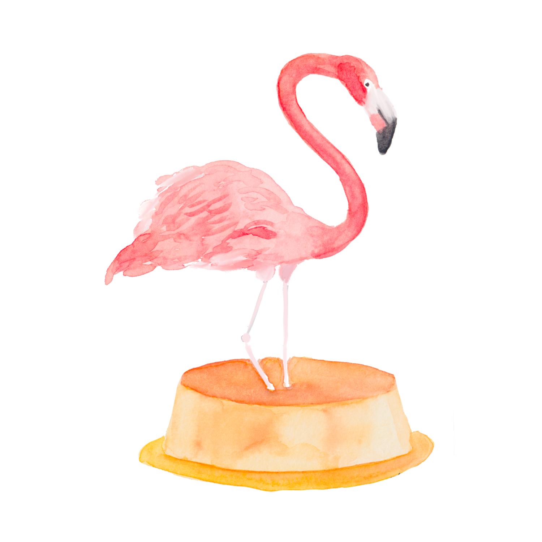 Watercolor Flamingo on a Flan, Bird Lover Watercolor Painting,Watercolor Bird Decor, Jungle Bird, Watercolor Taco, Nature Decor, Tropical Bird