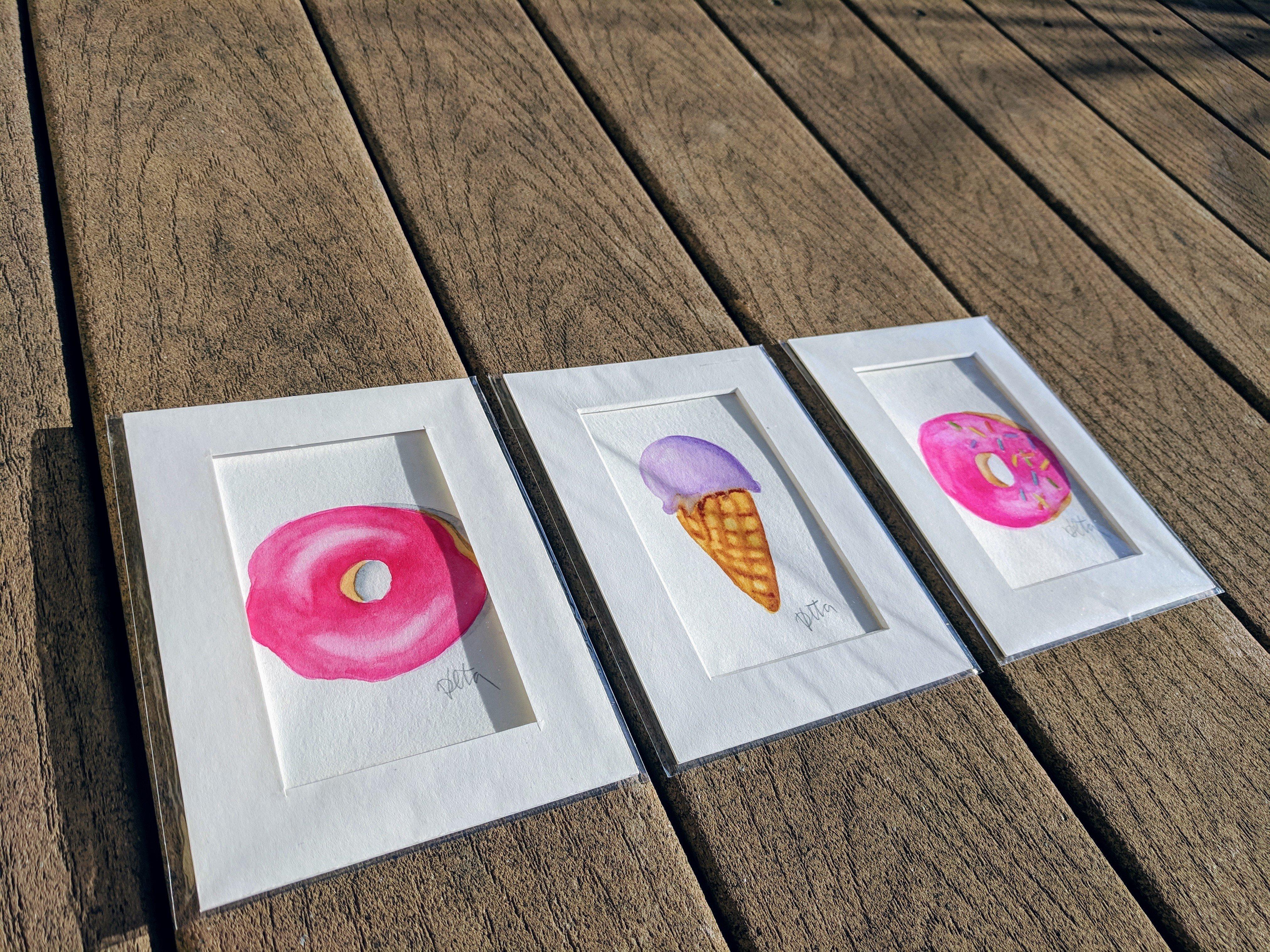 Pink Icing Donut - Original Watercolor Art