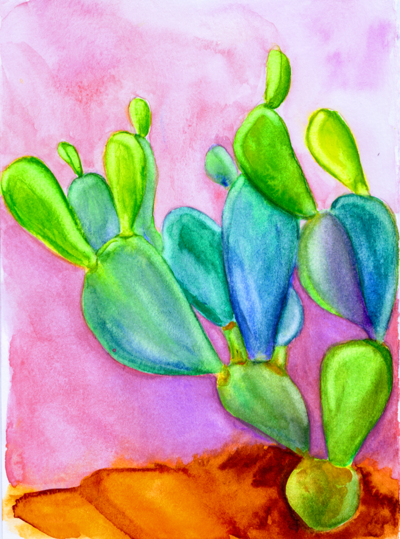 Cacti In Love - Limited Edition Watercolor Art Print 00005