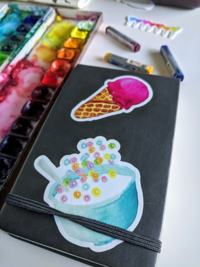 Pink Ice Cream Cone - Durable Vinyl Sticker - Watercolor Illustration