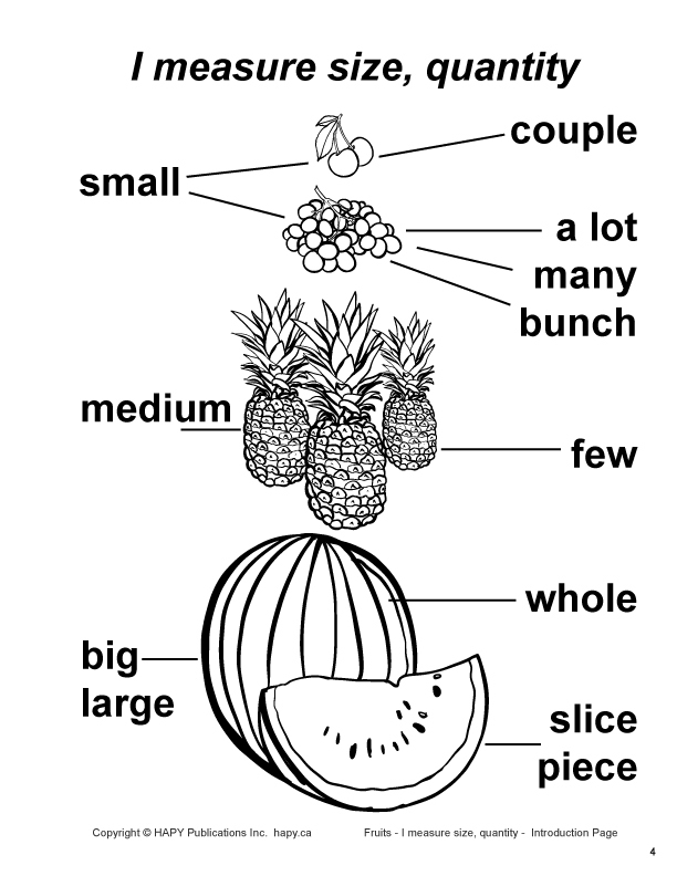 Fruits - I measure size, quantity