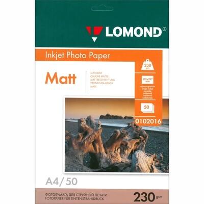 Фотобумага Матовая одн., 230 г/м2, А4,  50 л. Lomond 0102016