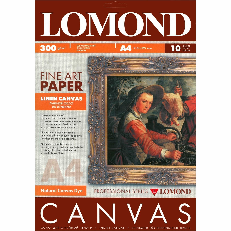Натуральный Холст С Покрытием Для Струйной Печати, 400 мкм, А4,  10л, Lomond Canvas 0908411