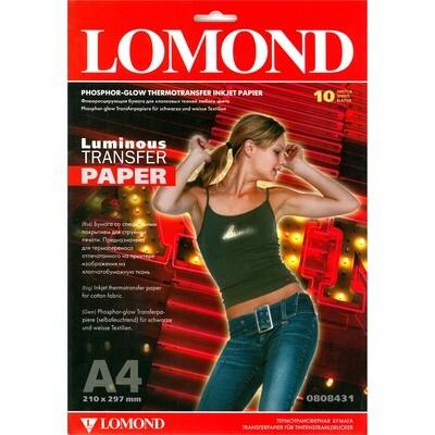 Термотрансферная бумага Флюорисцентный, A4, 140 г/м2, 10 листов, для струйной печати. Светится в темноте! Lomond 0808431