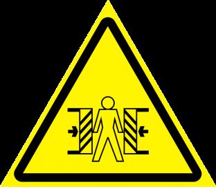 Наклейка Внимание, опасность зажима