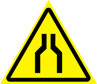 Наклейка Осторожно, сужение проезда (прохода)