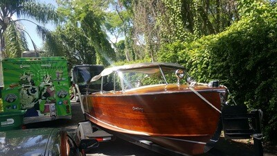 For Sale Classic Vintage Antique Wooden 1953 Century Boat with trailer