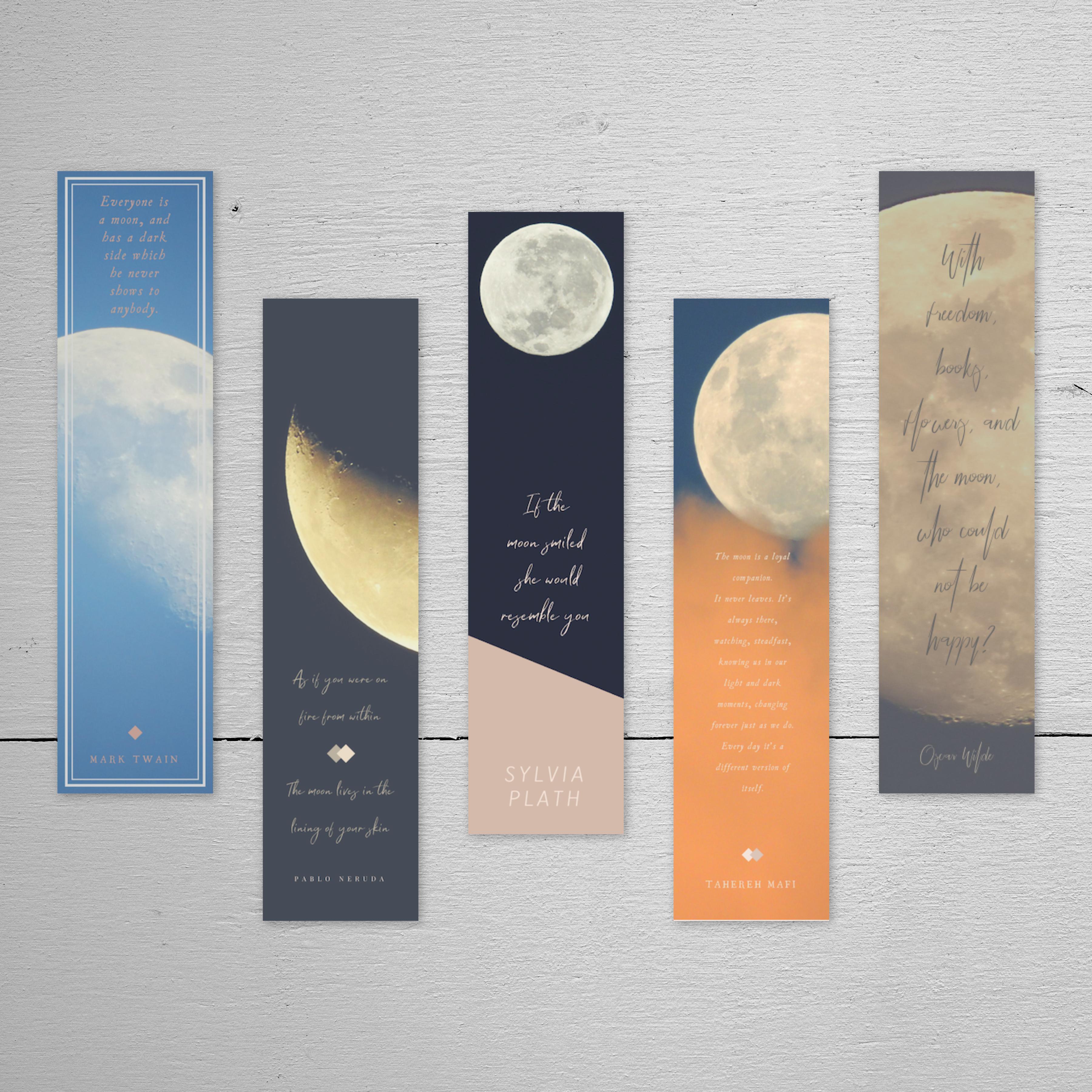Modern Moon Bookmarks