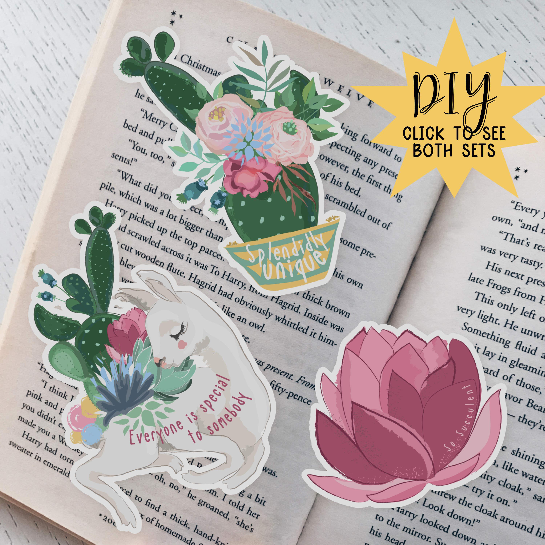 Special Llama & Cacti Die Cut Bookmarks (DIY Version!) 00002