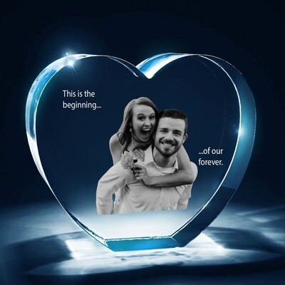 2D Heart Photo Crystal - Beautiful Engraved Gift
