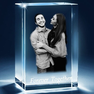 3D Photo Crystal Gift - Perfect Couple Gift - 10cm x 8cm