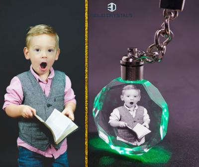LED Crystal Keyring - Round
