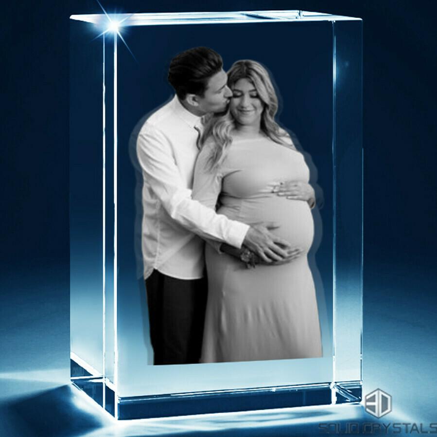 3D Photo Crystal Family Portrait - Rectangular - Large