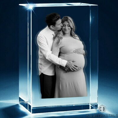 3D Photo Crystal Family Portrait - Rectangular - Large