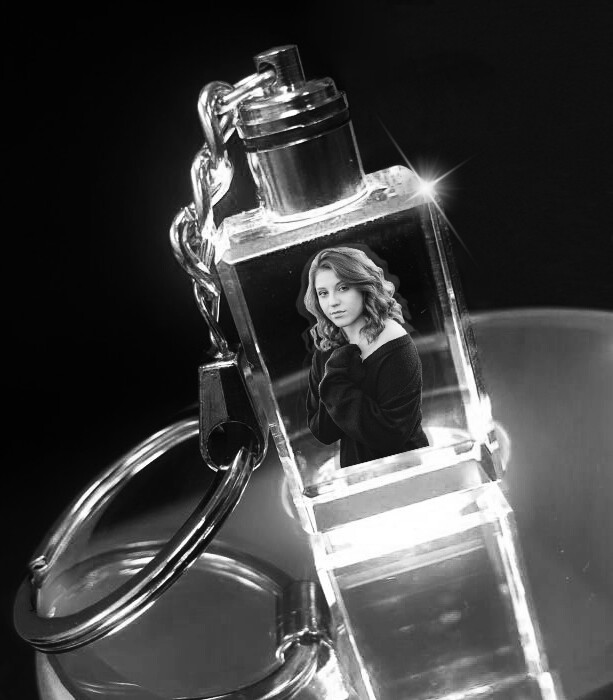 Personalised Photo Crystal Keyring with LED Lights - Rectangular Shape