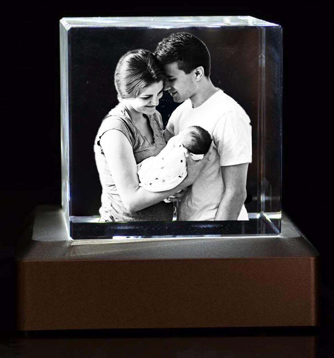 3D Crystal Glass Block 10cm x 10cm x 4cm