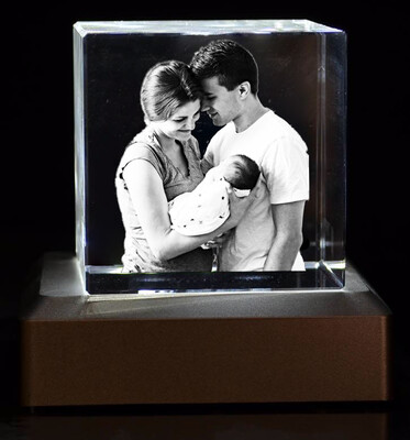 3D Crystal Glass Block With LED Wooden Light Base 10cm x 10cm x 4cm