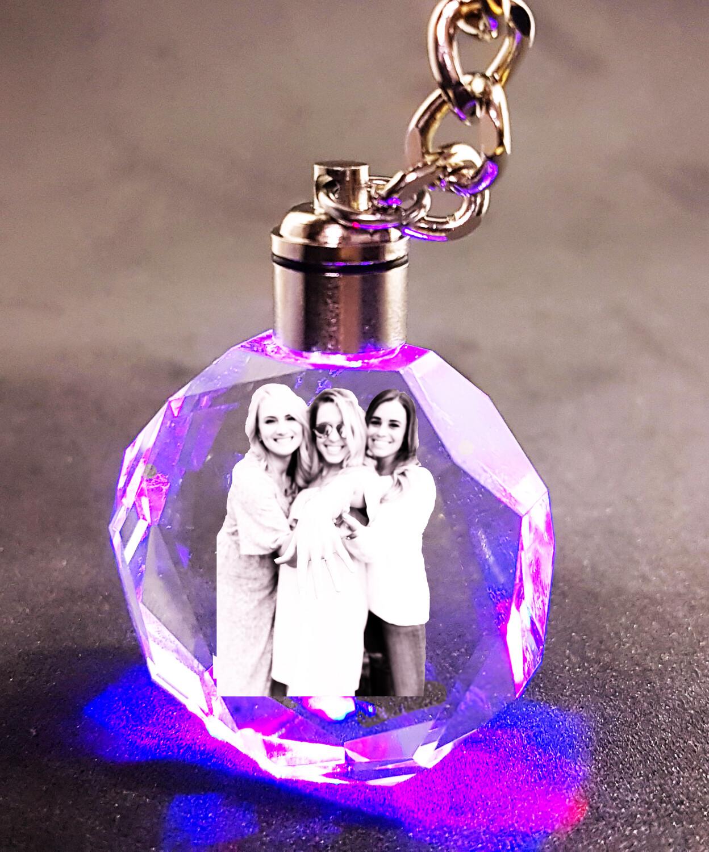 LED Crystal Photo  Keyring - 2D - Octagon