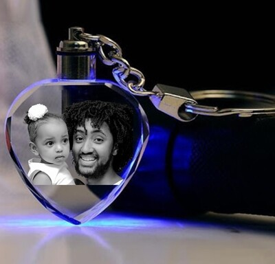 Crystal Photo Gift - 2D Keychain with LED Lights -Heart Shape