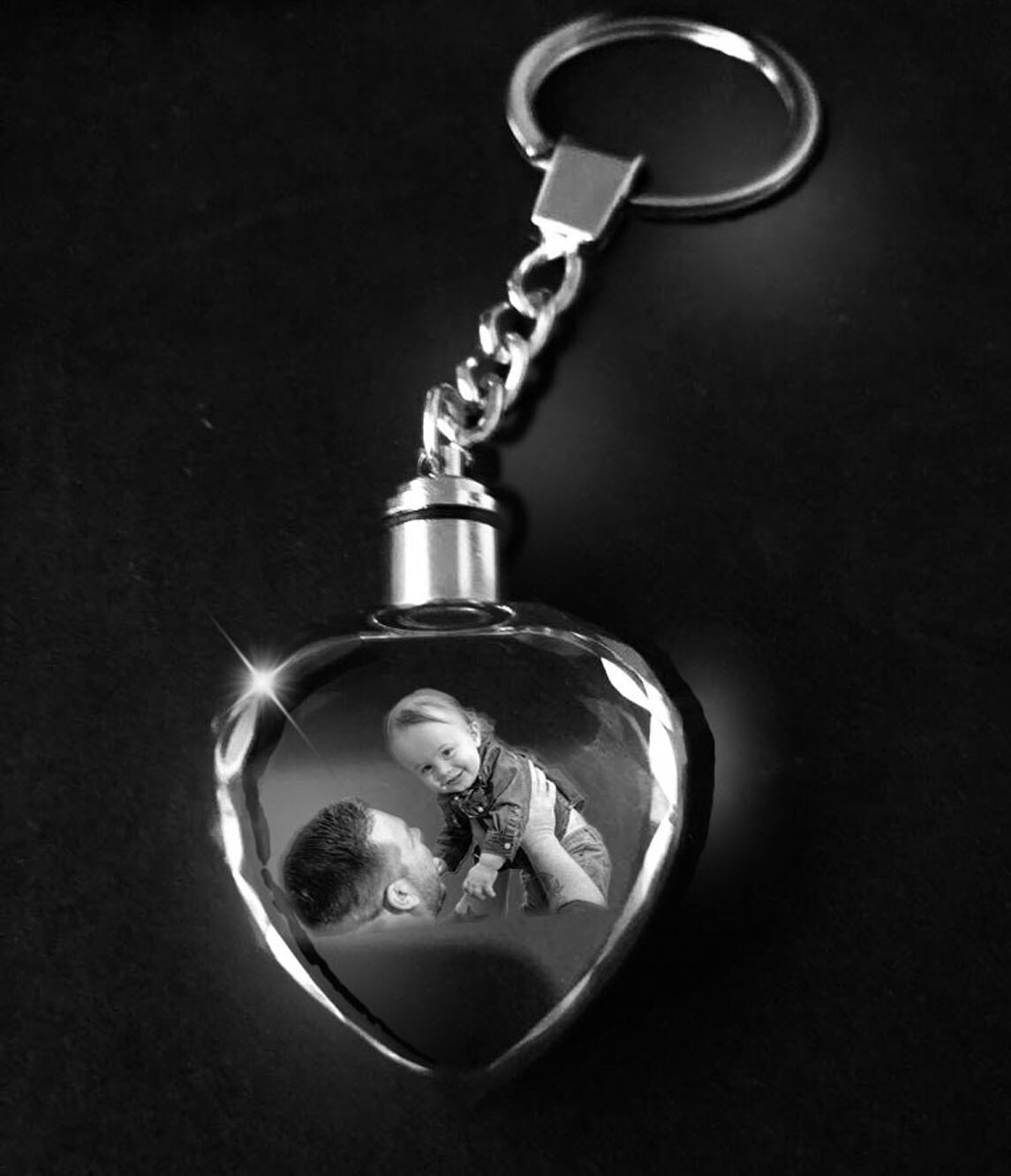 Personalised Photo Crystal Keyring with LED Lights