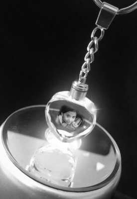 Photo Crystal Keyring - Heart shape with LED Lights