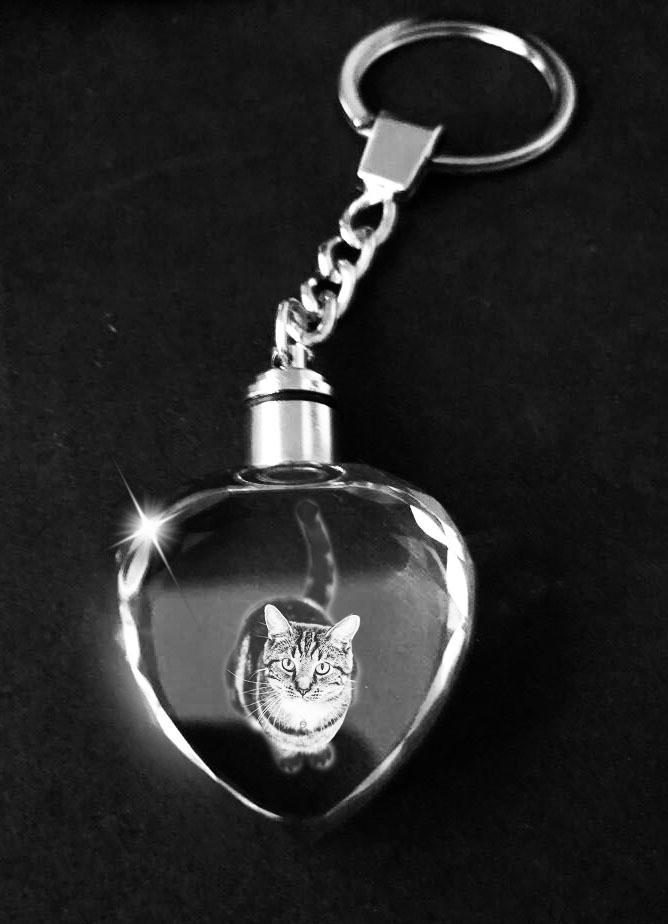 Photo Crystal Keyring with LED Lights - Heart Shape