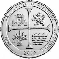 США 25 центов, 2019г. 49-й Национальный исторический парк Миссии Сан-Антонио