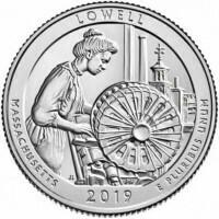 США 25 центов, 2019г. 46-й Национальный исторический парк Лоуэлл