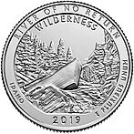 США 25 центов, 2019г. 50-й Национальный исторический парк Айдахо Фрэнк Черч Ривер (Река невозврата)