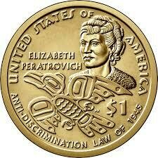 США 1 доллар, 2020 год. серия Коренные Американцы -  Элизабет Ператрович. Закон о борьбе с дискриминацией.