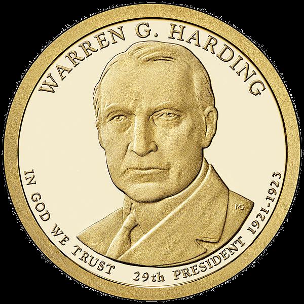 США 1 доллар, 2014 год. 29-й президент Уоррен Хардинг. 00128