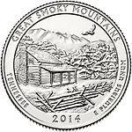 США 25 центов, 2014г. 21-й национальный парк Грейт-Смоки-Маунтинс 00174