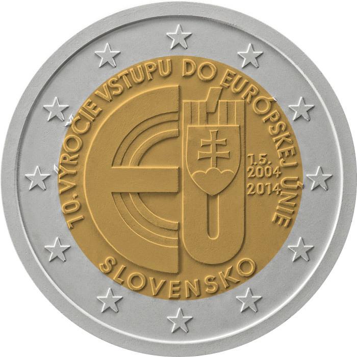 """2 евро Словакия 2014 г. """"10 лет вступлению Республики Словакия в Евросоюз"""" 00218"""