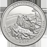 США 25 центов, 2014г. 22-й национальный парк  Шенандоа 00233