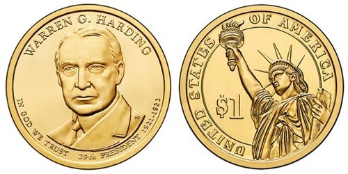 США 1 доллар, 2014 год. 30-й президент Калвин Кулидж.