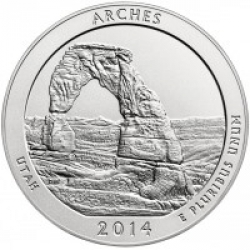 США 25 центов, 2014г. 23-й национальный парк Арки 00249